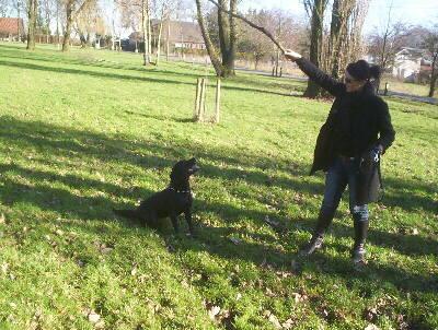 Labrador Blackie mit Frauchen 2